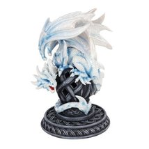 9 Inch White Dragon Growling on a Tribal Structure Statue Figurine - $47.16