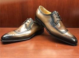 Burnished Brown Color Premium Leather Men Brogues Toe Lace Up Oxford Shoes - $139.90+