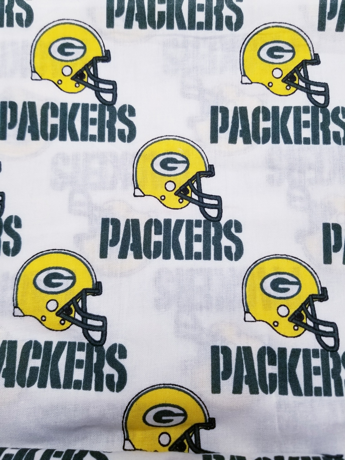 Primary image for Green Bay Packers NFL Cotton Helmet Fabric FQ 18 x 29
