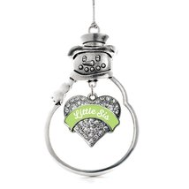 Inspired Silver Sage Green Little Sister Pave Heart Snowman Holiday Christmas Tr - $14.69