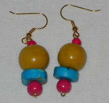 Handcrafted Wooden Beaded Yellow Blue Pink Dangle Earrings - $3.99