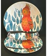 "Pier 1 Tropical Bird 8-1/4"" Stoneware Salad Dessert Plates Set of 2 - $21.99"