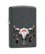 Zippo Lighter: Bull Skull with Feathers - Iron Stone - $33.20