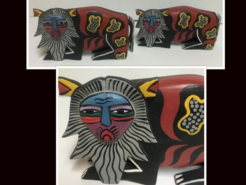 African lions wood collage