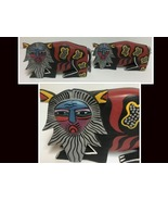 African Wood Art Carved Hand Painted Lions Set of 2 - $39.99