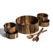 Wood Salad Bowl with Servers and Individual Bowls - 7 Piece Set - $97.95