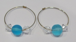 gold hoop earrings with turquoise and clear beads - $9.00