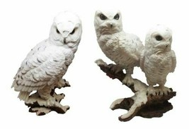 Woodlands Night Watch White Snow Owls Perching on Tree Branch Figurine S... - $84.99