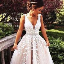 V Neck Floor Length Applique Open Back A Line Backless Bridal Gown image 1