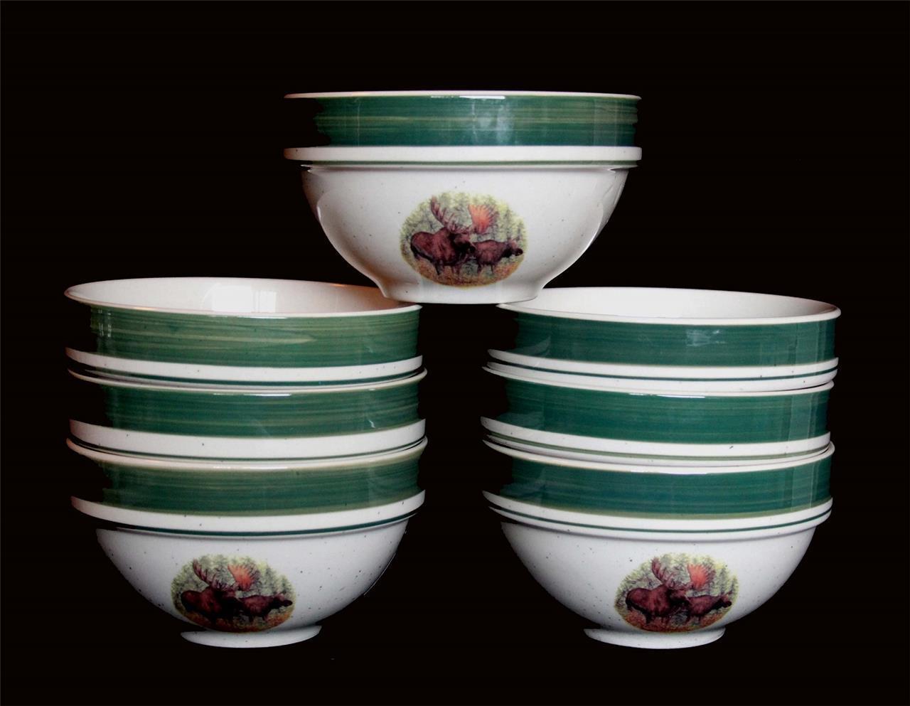 7 Cabela's WOODLAND MOOSE Deep LRG Stacking Green Rim Speckle Bowls NEW DISC - $79.99
