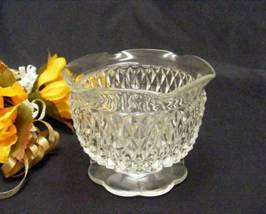 1747 Indiana Diamond Point Scalloped Clear Mayo Sauce Bowl - $8.00