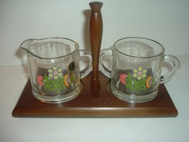 Westmoreland Glass Country Floral Flowers Cream and Sugar set with Wood ... - $29.99
