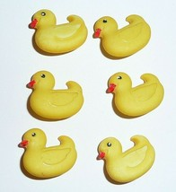 "Adorable Yellow Ducks Ducky Realistic Shank Buttons (6) 5/8"" x 3/4"" Rubb... - $5.44"