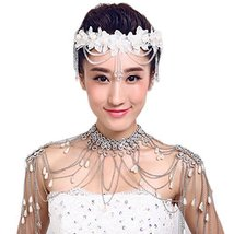 Flower Rhinestones Beads Bridal Wedding Lace Headband Hair Accessories, E