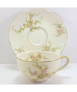Theo Haviland NY Rosalinde Cup and Saucer 6 oz Ivory Porcelain Pink - $13.86