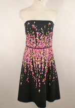 Ann Taylor Loft Sz 8 Pink Black Floral Strapless Flair Tea Dress - $19.79