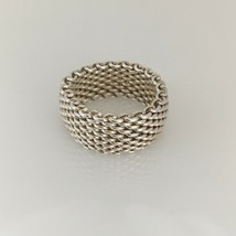 Size 7.5 Tiffany & Co Sterling Silver Somerset Mesh Weave Men's Unisex Ring - $169.99