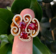 925 Sterling Silver Natural A+ Quality Garnet And Cz Gemstones 22k Gold Plated A image 3