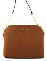 AUTHENTIC NEW NWT MICHAEL KORS $168 LEATHER CINDY BROWN LUGGAGE CROSSBOD... - $89.99