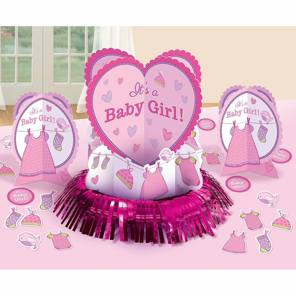 Shower with Love Girl Table Decorating Kit (23 Pieces) 12""
