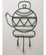 "Kettle Tea Pot Metal Kitchen Decor Wall Hanging Art Plaque 3 Hooks 10"" x... - $25.19"