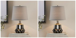 TWO FELICE DARK AGED CERAMIC ACCENT TABLE LAMP POLISHED NICKEL METAL UTT... - $224.40