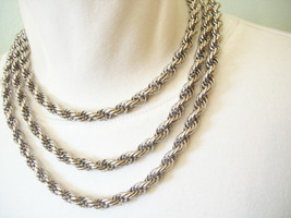 LONG Thick Silver Plate ROPE CHAIN Necklace Sautoir Double Triple Vintag... - $18.80