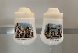 Pair of Vintage London Milk Glass Salt and Pepper Shakers image 1