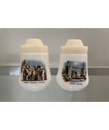 Pair of Vintage London Milk Glass Salt and Pepper Shakers - $18.00