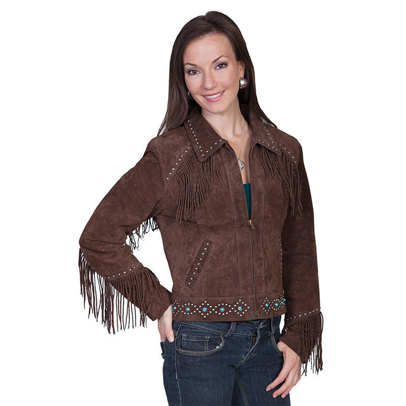 QASTAN Women's New Brown Fringes / Silver Studs Suede Cow Leather Jacket WWJ16B