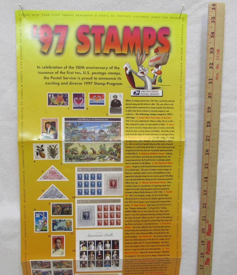 1997 USPS Stamp Poster US Postal Service 35x12 Bugs Bunny Football Coaches Opera