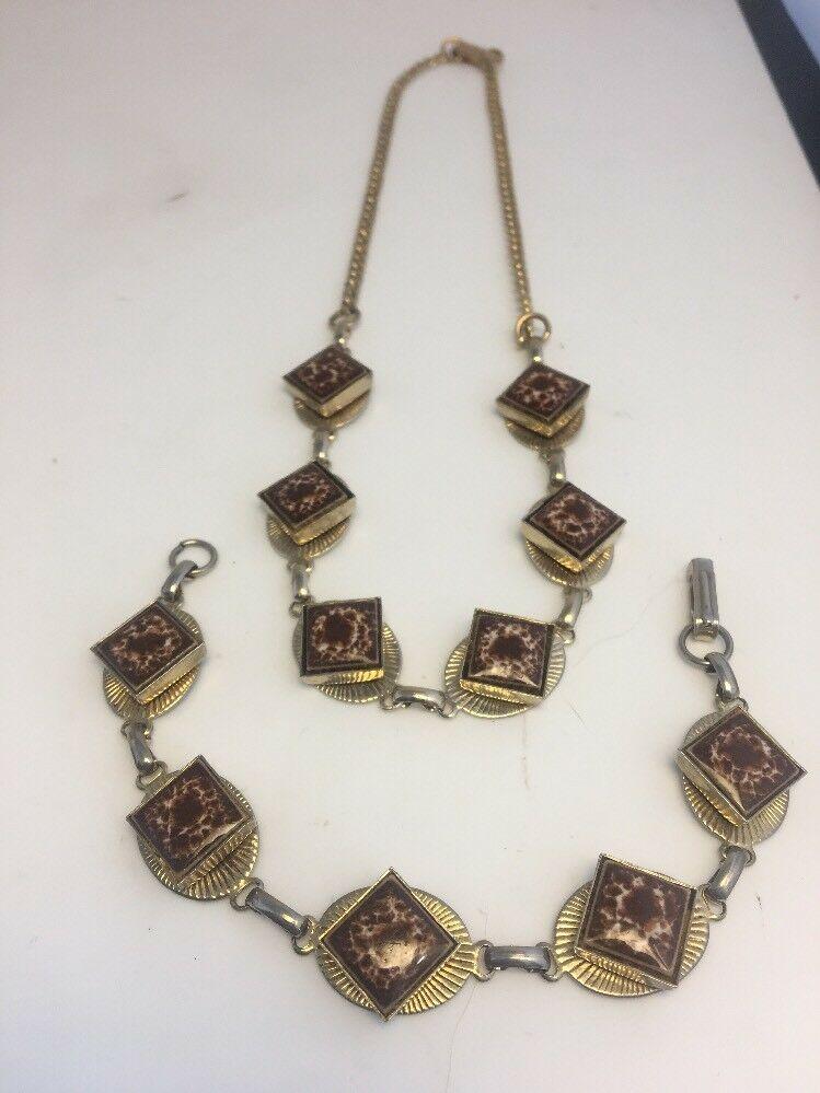Vintage Ceramic Necklace Bracelet Set Goldtone