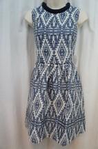 Jessica Simpson Dress Sz 4 Aztec Blue Tribal Print Sleeveless Short Sheath Dress - $83.64