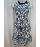 Jessica Simpson Dress Sz 4 Aztec Blue Tribal Print Sleeveless Short Shea... - $83.64