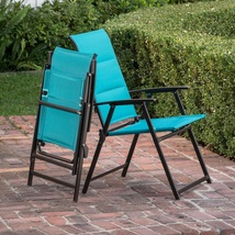 Outdoor Folding Chair Set of Two Emerald Finish Fabric Stylish Relaxing ... - $65.49