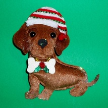 Red Holiday Dachshund in Boots Metal Christmas Ornament - $10.50