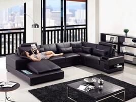 VIG Divani Casa Diamond Modern Black Bonded Leather Corner Sectional Sofa Left