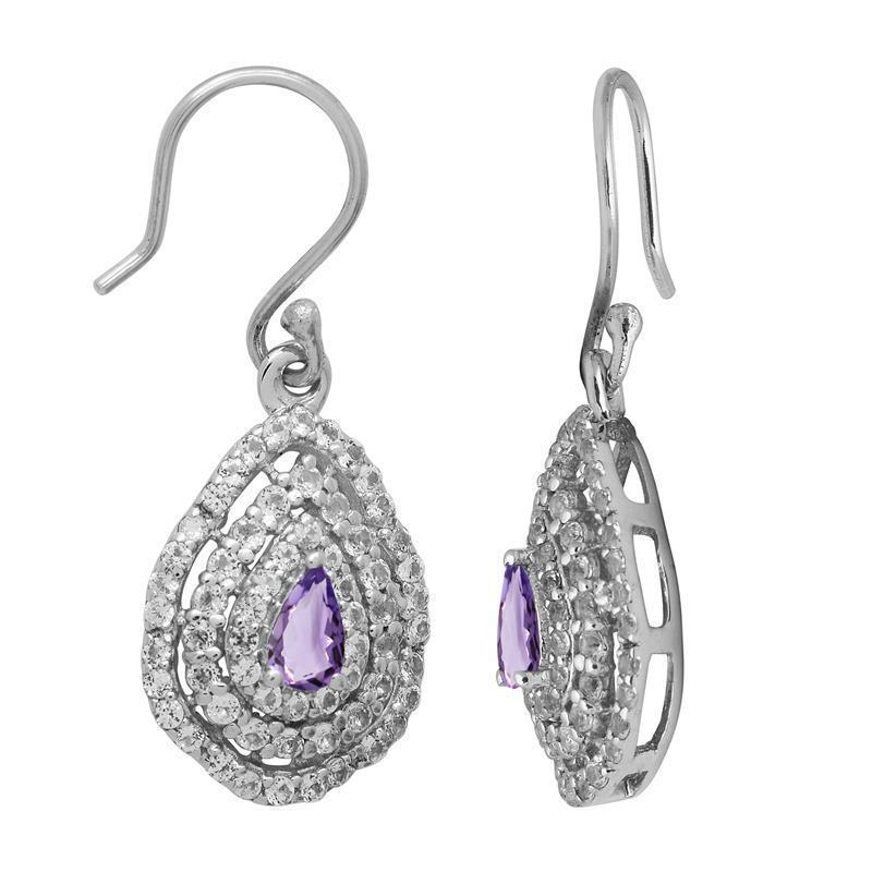 Amethyst With White Topaz Gemstone 925 Sterling Silver Filigree Earring SHER1072