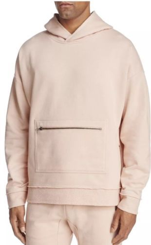 Primary image for New Men's The Narrows Bloomingdales Raw Edge Hoodie Sweater Light Pink / Nude