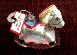 Christmas Ornament Rocking Horse Hand Painted Glass New - $13.37