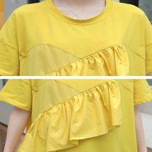 Maternity Dress Solid Color Ruffled Short Sleeve Fashion Knee Length Dress image 5