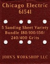 Chicago Electric 61541 - 80/100/150/240/400 Grits - 5 Sandpaper Variety Bundle I - $7.53