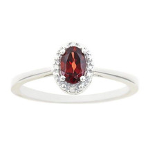 GARNET DIAMOND HALO ENGAGEMENT RING OVAL SHAPE 925 STERLING SILVER .56 C... - £76.05 GBP