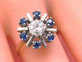 VINTAGE .80ct DIAMOND .75ctw SAPPHIRE WHITE 18K COCKTAIL RING 1950 GERMA... - $1,880.01