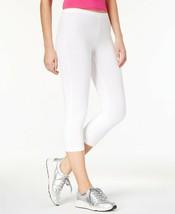 HUE EDV Cotton Capri  Leggings, White, Small (size 4-6) - $19.99