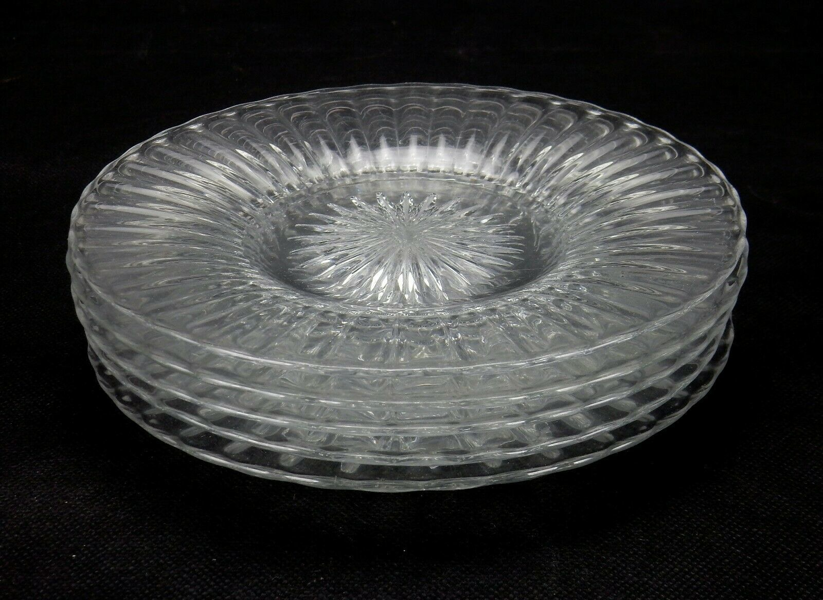 "Primary image for 6 Heisey Salad Plates, Coarse Ribbed Pattern, Set of 6 Heisey 7 3/8"" Plates"