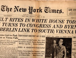 The New York Times, Newspaper, Saturday, April 14, 1945 - $14.00