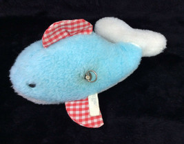 "Eden Musical Fish Whale Dolphin Blue Red Gingham Plush Baby Toy 8"" Vintage - $40.63"
