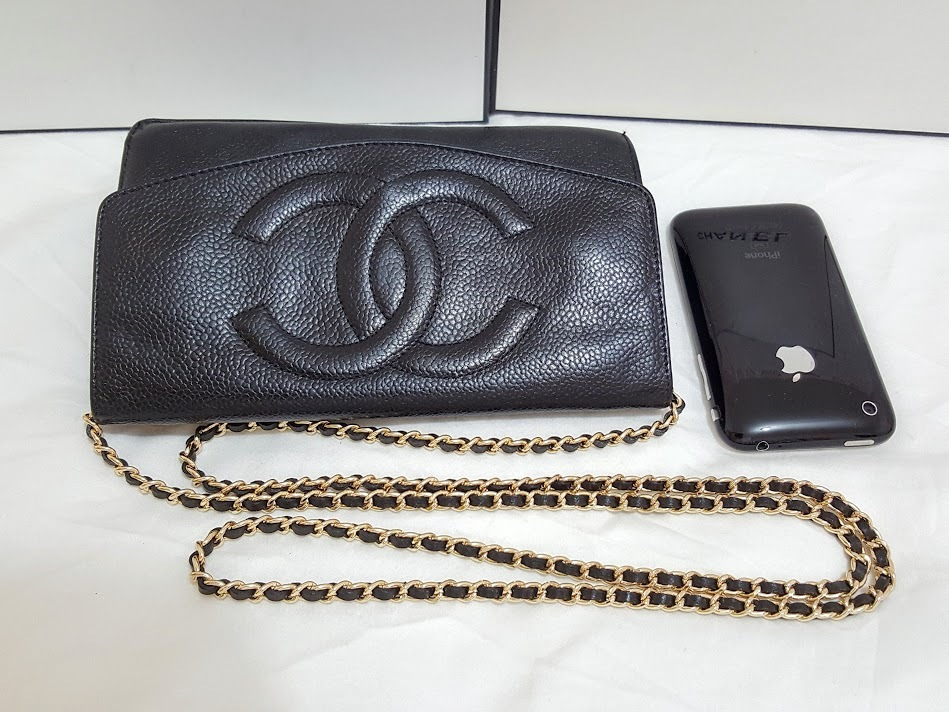 Auth Chanel Timeless Black Caviar Leather Gold Chain Wallet WOC Crossbody Bag image 11