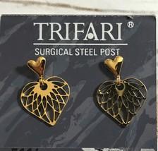 Trifari Gold Plated Heart Dangle Pierced Earrings - $9.85